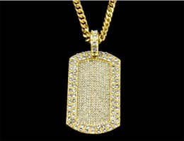 Wholesale Dogtag Pendant - Luxury Women Men Dogtag full stone High Quality Gold Plated Hip Hop Necklace Fine Statement Holiday Accessories