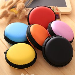 Wholesale Earphones Carry Case - New Mini Earphone Bag Headphone Box Portable Coin Purse Carrying Zipper Bag Pouch Pocket Case Round Storage Headset box Colorful S092