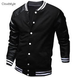 Wholesale Cool Jacket Designs - Wholesale- Cool College Baseball Jacket Men 2017 Fashion Design Black Pu Leather Sleeve Mens Slim Fit Varsity Jacket Brand Veste Homme