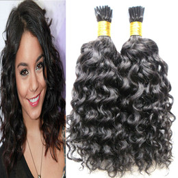 Wholesale Wholesale Fusion Hair Extensions - Brazilian Human Hair Extensions strands of human hair extensions kinky curly Capsule Keratin I Tip Hair Fusion 100g 1g strand 100s
