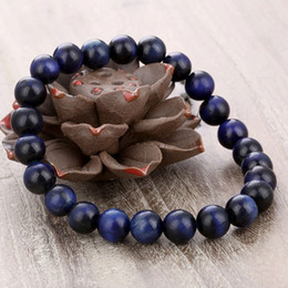 Wholesale Natural Blue Ring - European women and men's natural stone beaded bracelets new blue tiger eye stone strands bracelets jewelry accessories