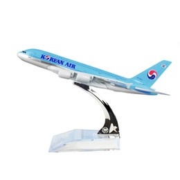 Wholesale Models Boys - New hot sale Korean Air A380 Plane Model,16CM, Aircraft Models Birthday Gift 1:400 Free Shipping Christmas Gift