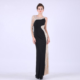 Wholesale Beaded Evening Dresses Straight - Professional Design 2017 Evening Beaded Dress Prom Party Ladies Straight Dresses One Long Sleeve Banquet Gown For Princess
