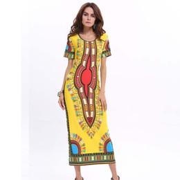 Wholesale Linen Clothing For Women - Dresses for Women Short Sleeve Maxi Dress Dashiki Clothing Women Print Style Vintage Round Neck Bodycon Pencil Dress