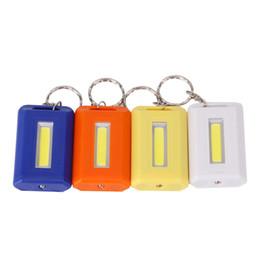 Wholesale Mini Flash Light Key Chain - Super Mini COB LED Keychain Flashlight Key Chain Keyring Flash Light Lamp Torch With Replaceable Battery 4 Colors Portable Lant