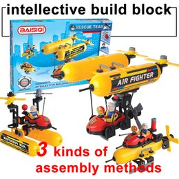 Wholesale Built Aircraft Models - BAISIQI Soft build block aircraft rescue team intellective building blocks sets+Mini action figure 79PCS Assembly blocks kids toys 3 models
