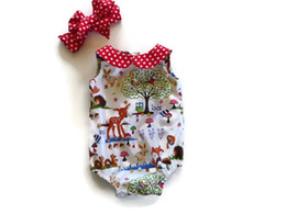 Wholesale Christmas Outfits For Babies - Cartoon animal baby Jumpsuit Newborn Outfits Rompers For Babies Baby Rompers + Headbands 2pcs set Girl One Piece Clothing Infant Wear A827