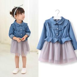 Wholesale Children Girls Clothing Korea - Fashion New Girls Dresses Children Clothing Stringy selvedge Long Sleeve Denim Lace Gauze Tulle Dress For Girl Jeans Korea Dresses A7230