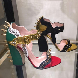 Wholesale Embellished High Heels - 2017 New Fashion Women Sandals Embellished Studded Rivets Charm Sandalias Mujer Brand Luxury Dress Party Shoes Mixed Color