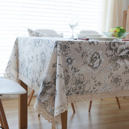Wholesale Table Cloths China - High Quality Peony Cotton Table Cloth China Style Table Covers with Lace Edge Party Kitchen Tablecloth nappe manteles ZB-65