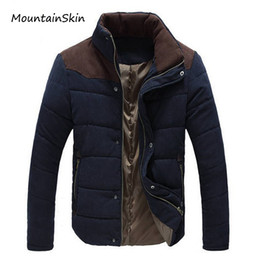 Термальные парки самец онлайн-Wholesale- Mountainskin Winter Men's Jacket Warm Thick Men Parkas Fashion Thermal Solid Male Coats Casual Down Cotton  Clothing LA144