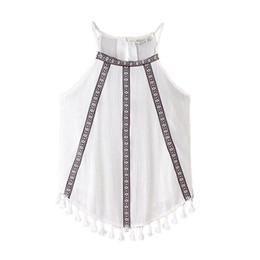 Wholesale Retro Style Blouses - Wholesale- 2016 Summer Women Ladies White Vintage Retro Casual Boho Style Embroidery Tank Top Sleeveless Blouses Hem Tassels
