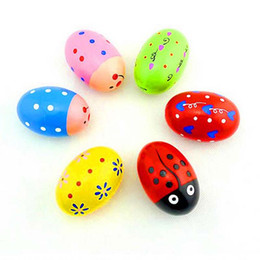 Wholesale Maracas Instrument - Exquisite Wood Sand Egg Baby Educational Wooden Ball Toy Musical Maracas Shaker percussion Instrument Cute Gift