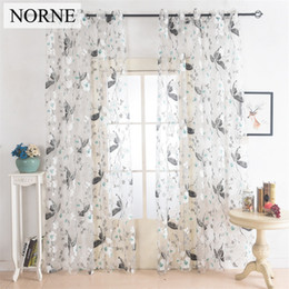 Wholesale Tulle Grommet Curtains - Norne Floral Tulle Voile Sheer curtains Panel Drape for Living Room the Bedroom Kitchen Modern Voile Curtain Window Fabric Decoration