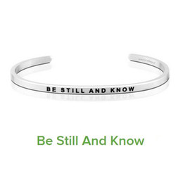 Wholesale Wholesale Bracelets Positive - Gorgeous Stainless Steel Bar Engraved Be Still And Know Positive Inspirational Quote Cuff Bracelet Bangle for women Black Letter