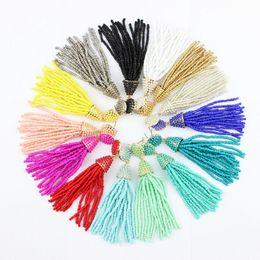 Wholesale Earrings Bohemia - Bohemia Fashion Beaded Tassel Earrings Boho Jewelry Handmade Seedbeads Tassel Earrings Beaded Chandelier Long Earrings 14 colors Option
