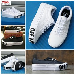 Wholesale Blue Platform Sneakers - 2017 VANS Authentic Platform Off the wall Old Skool Black White Skate Shoes For Women Fashion Designer Sport Casual Canvas Sneakers 35-39