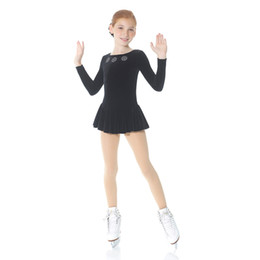 Wholesale Blue Ice Skating Dresses - New Brand 2017 Girls Ice Skating Dress Above Knee Length Long Sleeve Custom Made Cute Children Dress for Competition