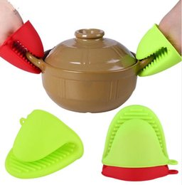 Wholesale Heated Hand Mitts - Cake Bakeware Heat Resistant Silicone Oven Glove Short Finger Hand Clip Oven Mitt Convenient Pot Holder