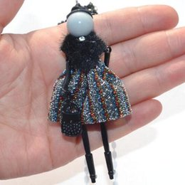 Wholesale Dolls Necklace - Wholesale- Statement Fur and Leather Doll Necklace Dress Handmade French Doll Pendant 2017 News Alloy Girl Women Flower Fashion Jewelry