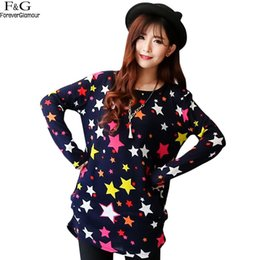 Wholesale Types Women Sweaters - Wholesale-Women Casual Knitted Sweater Star Print Warm Long Sweater Pullover Casual Knitting Sweaters for Women 20 types 31