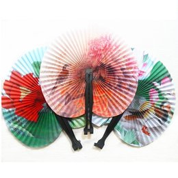 Wholesale Paper Folding Crafts - 100Pc Summer Style Art Chinese Folding Hand Paper Fans For Event Party Wedding Home Decoration Crafts Women Dancing Fan