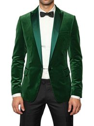 Wholesale Dinner Jackets For Men - Wholesale- New Arrival Groom Tuxedo Suit Men Fashion Designer Wedding Tuxedo For men Dinner Velvet Casual Blazer Groom Suit Jacket+Pants