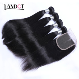 Wholesale Brazilian Human Hair Weaves - Brazilian Peruvian Malaysian Indian Straight Virgin Human Hair Weaves With Closure Unprocessed Brazilian Remy Hair Bundles And Lace Closures