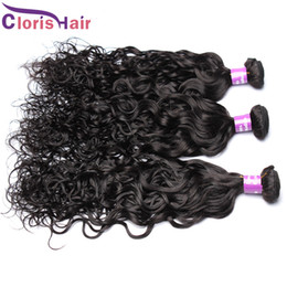 Wholesale Cheap Wavy Human Hair Extensions - Water Wave Human Hair Weave 3pc Raw Unprocessed Indian Wet and Wavy Remi Hair Extensions Cheap Nautal Wave Bundles Dhgate Vendors