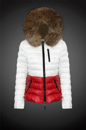 Wholesale Original Fur Coat - free shipping 2017 new woman brand thick real Raccoon fur collar hoodies white duck down jacket outerwear coats down parkas original package