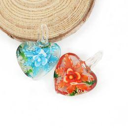 Wholesale Murano Love Heart Pendant - Multicolor Inner Flower Murano Love Heart Coloured Glaze Glass Pendants for Jewelry Making 12pcs pack MC0087