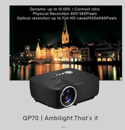 Wholesale Mini Pc Lcd - Mini LED GP70 Projector Support FULL HD 1080P HDMI USB AV SD VGA for Home Theatre PC Laptop Video Games TV Family