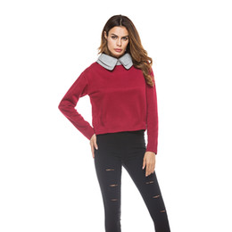 Wholesale Double Spell - 2017 Autumn New Fashion Double Collar Long Sleeve Knitted Sweater Lady Spell Color Short Top XL-5XL Oversized Sweater for Women