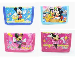 mickey purse Promotion Wholesale- New 2016 Fashion Cartoon Minnie Mickey Coin Purse Enfants Zip Change Money Portefeuille Sac à main Kids Girl Women Pouch Bolsa