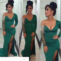 Wholesale One Sleeve Prom Dresses Sparkly - Dark Green Sheer Neck Prom Dresses Sparkly Sheer Long Sleeves Mermaid Evening Gowns Side Split Formal Party Dress Saudi Arabic Vestidos