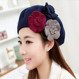 Wholesale French Artist Hat - Wholesale-Autumn Winter Spring Beret Hats For Women New Fashion Warm Wool Flower Beanies Hats Visor Ski Cap For Sweet Girl French Artist
