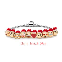 Wholesale Christmas Style Hat For Women - 4 Styles Emoji Charm Bracelets Silver Plated 3 5 10PCS Beads Santa Hats DIY Jewelry For Women Men Christmas Gifts