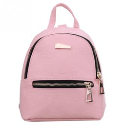 Wholesale Fashion Korea - 2017 Women's Leather Backpack children backpack candy color Korea school style student mini backpack for teenage girls New Style