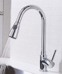 Wholesale Kitchen Sink Faucet Bath Mixer - Silver Single Handle Kitchen Faucet Mixer Pull Out Kitchen Tap Single Hole 360 Rotate Copper Chrome Swivel Sink Mixer
