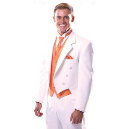 Wholesale Tuxedo Tails Images - Custom Made Men Suits Luxury Notch Lapel Long Tail 3 Piece Formal White Tuxedo For Men Wedding Suits (Jacket+Pant+Vest)