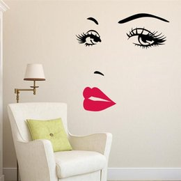 Wholesale Sexy Wall Decals - 3D Wall Sticker Sexy Girl Lip Eye Water Proof Acrylic Decal Creative Living Room Entrance TV Backdrop Home Decor 5 5lc F R
