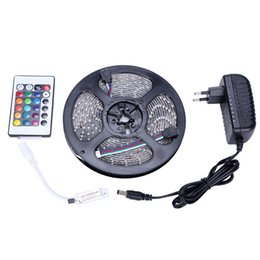 Wholesale Led Strips Green - LED Strips 5M Set 3528SMD 60led LED Strip Light Waterproof 24Keys IR Remote Controller Power supply Adapter White Red RGB LED strips light