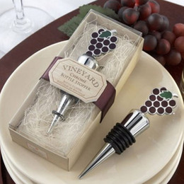 Wholesale Grape Wine Stopper Wedding Favors - Bottle Stoppers Wedding Favors Kitchen style New Vineyard Grapes Wine Stopper Party Favors Gifts Bar Tools Dining Home 2017
