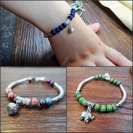 Wholesale Making Porcelain Beads - XS Hand-made Hand Knitting Ceramic Bracelet Candy Color First Act Role Ofing Tasted Beads Bracelet Jewelry Wholesale