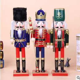 Wholesale Wooden Soldier Nutcracker - 38CM Wooden Christmas Nutcracker Soldiers Puppet Zakka Creative Desktop Decoration Large Size Christmas Ornaments Drawing Walnuts Soldier