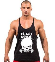 Wholesale Yellow Tank Top Mens - 2017 New Skeleton head print Singlets Mens Tank Tops Shirt,Gyms Bodybuilding Equipment Fitness Stringer Tank Top Clothes
