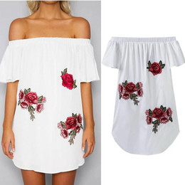 Wholesale Dress Led S - Women Clothing Summer Dress One Word Led Affixed Cloth Embroidery Strapless Dress Casual Sexy Three Color Short Skirt