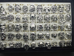 Wholesale Bikers Rings - Top Vintage Gothic Punk Assorted Skull Style Sports Bikers Silver Jewelry Ring (Size 8 to 12)