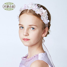 Wholesale Headband Veil Princess - Children Hair Accessories Veils Headpiece To Match Flower Girl Dress White Princess Garland Flower Girl Headband Wedding Party Band A7197