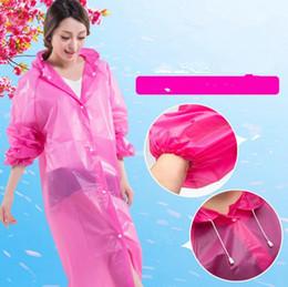 Wholesale Waterproof Hooded Poncho - Women Long Rain Coat EVA Hooded Transparent Raincoat Waterproof Poncho Portable Environmental Raincoat Rainwear 4 Colors OOA3302